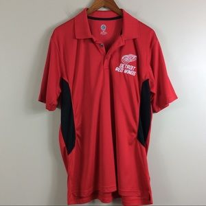 Detroit Redwings Red And Black Polo Shirt Sz L